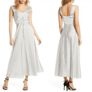 JILL STUART Polka Dot Printed Charmeuse Maxi Dress